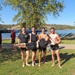 Top Men's Open 4+ 3rd place winners. L->R Jacob Bledsoe, Patrick Tilley, Jake Skoll, Grey Mouser. Cox Bryan Pulling