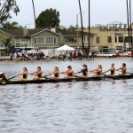 Photo by Kaitlyn Gold Women's novice eight, which included (left to right) coxswain Sheila Robles, Sam McFeely, Sydney Abad, Alexandra Savage, Hayley Schum, Monica Wasynczuk, Kelsey Leegwater, Penelope Gallardo and Cecilia Guererro, finished first in their 2,000-meter race at the Southern California Opening Day Regatta taken place at the Marine Stadium in Long Beach, Calif. They managed to beat University of California San Diego and University of California Santa Barbara's B and C boats with a time of seven minutes and 35.3 seconds.