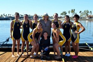 President Jane Close Conoley attends the Naples Island collegiate rowing meet on Sunday. This was the first home meet for the fall season.