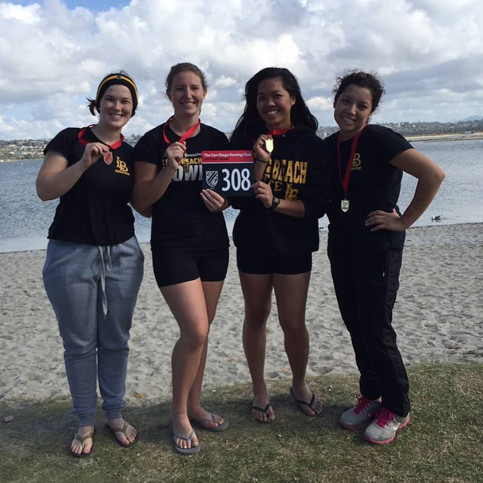 (Photo provided by Chloe Volz) Novice four, which included Chloe Volz, Hanna Anderson, Chamille Mendoza and Aimee Ramos, medaled in their race against ASU at San Diego Fall Classic.